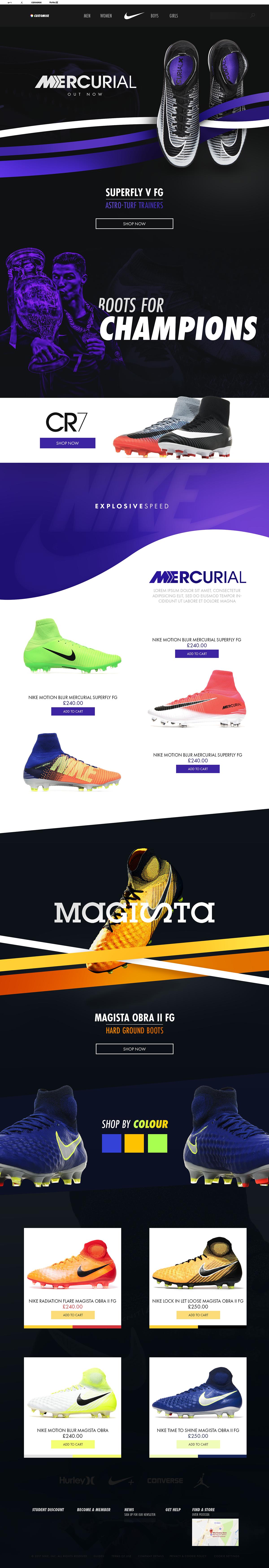 exagerar Abultar vamos a hacerlo  Nike Football Website on Behance