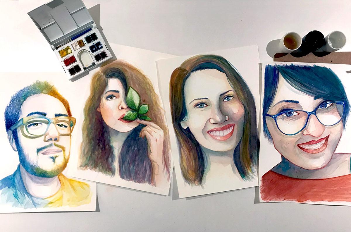 stephanymarlen3 art watercolor women face portrait ILLUSTRATION  eye mexico