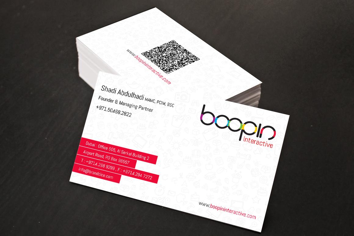 business card boopin media advertising dubai vijith designer