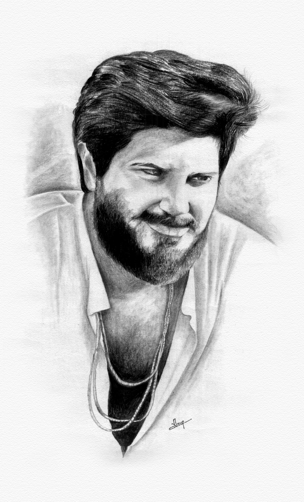 Dulquer salmaan charcoal drawing on behance