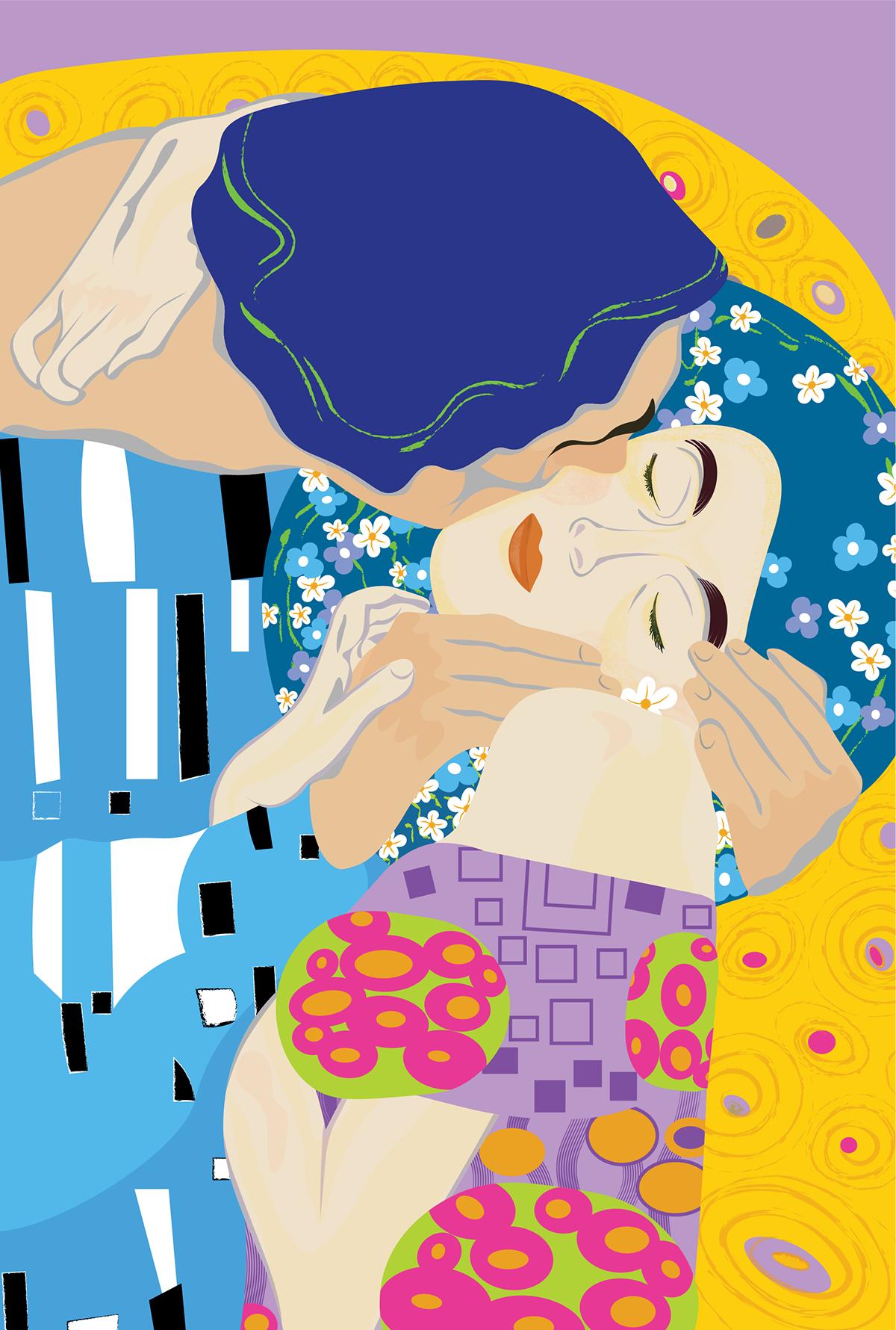 adobe illustrator Gustav Klimt ILLUSTRATION  kiss Klimt