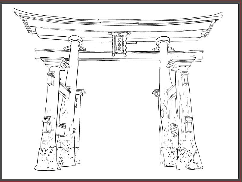 torii gate drawing - 805×606