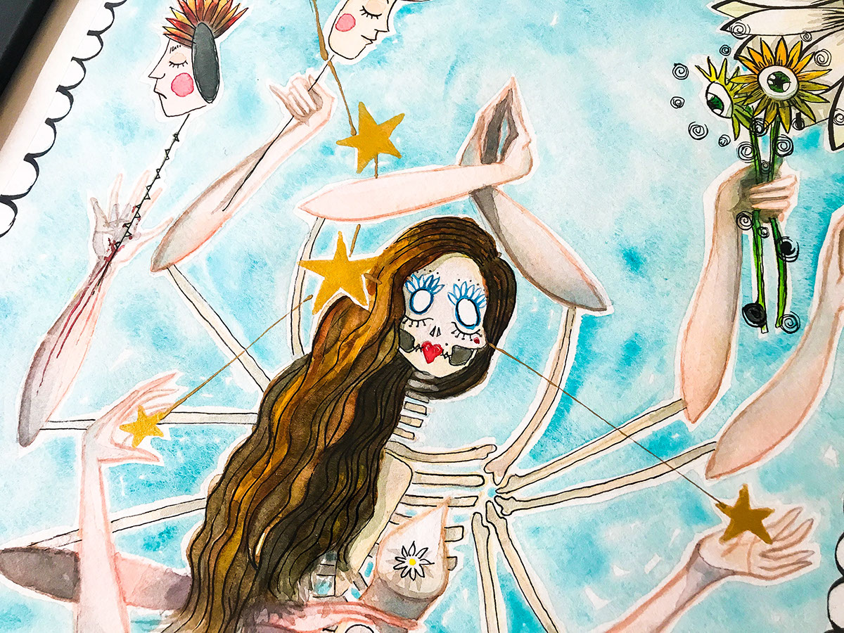 miss catrina stephany marlene Astrology zodiac signs cancer watercolor art tijuana mexico