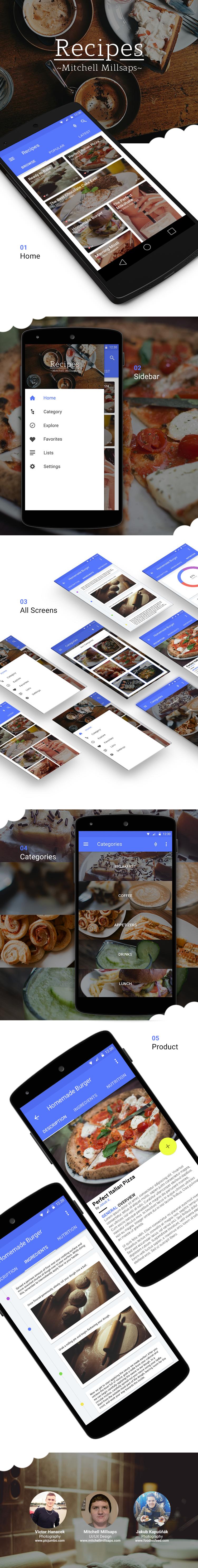 recip recipes Food  foodie app template free psd download material design material design