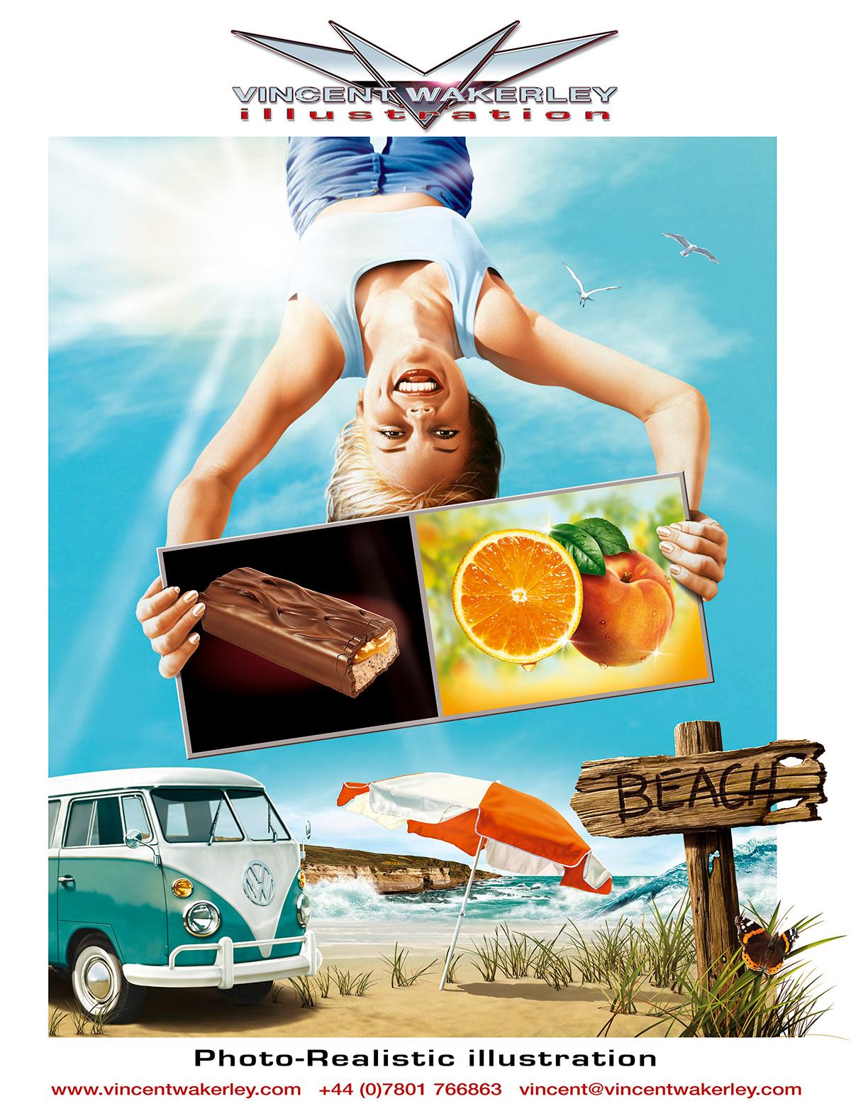 automotive   beach chocolate Fruit Holiday realistic sand sea Surf woman