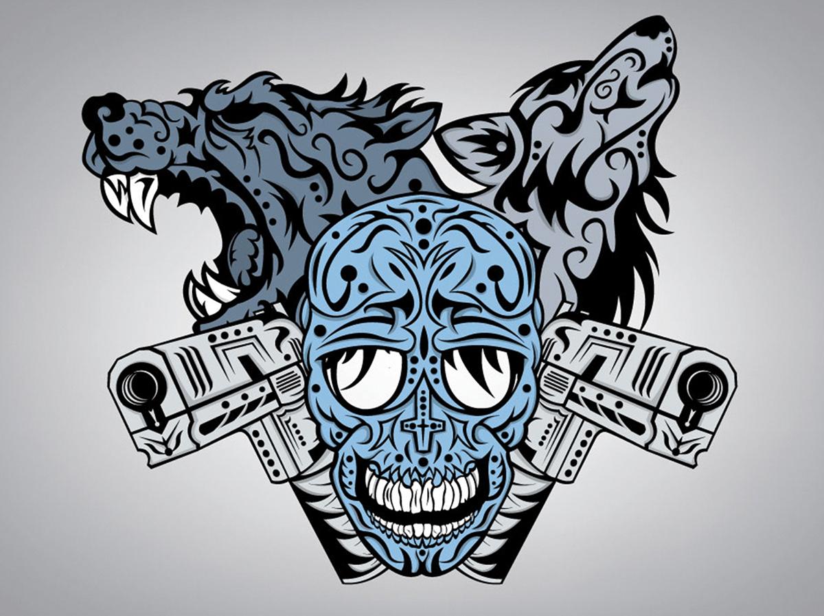 vector vector art T-Shirt Design fantasy skull death wolf