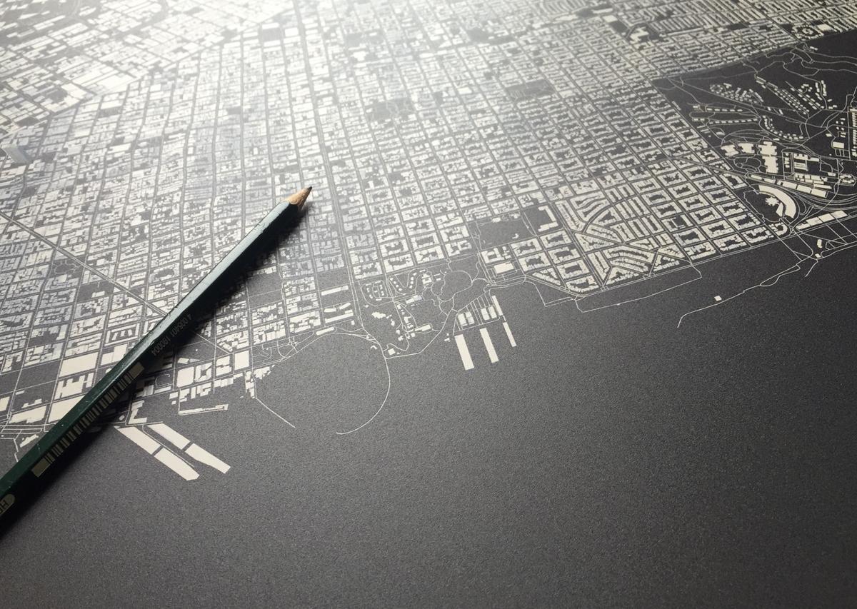3D city map topography routes structures maps town cinema4d poster London Paris layouts Manhattan map design
