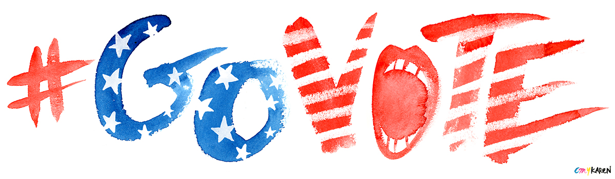 Adobe Portfolio watercolor  red  blue  patriotic  president Election vote govote hand-lettering hand-painted brush