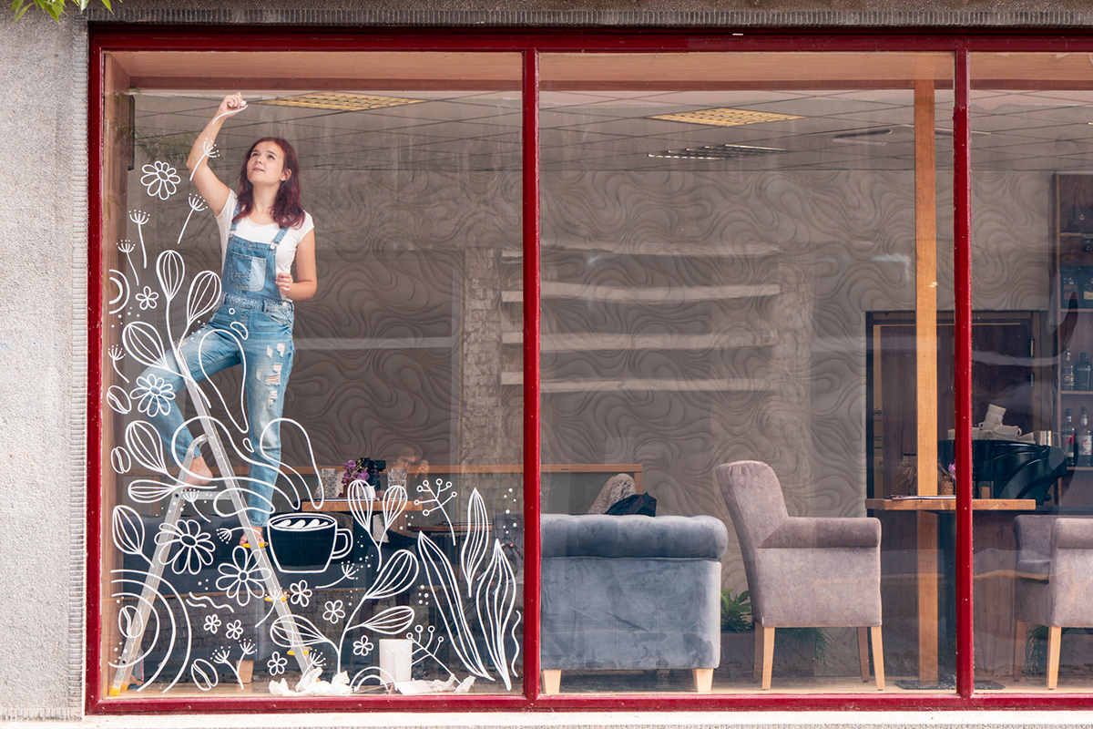 cafe Coffee freehand ILLUSTRATION  Mural mural paint Window window painting