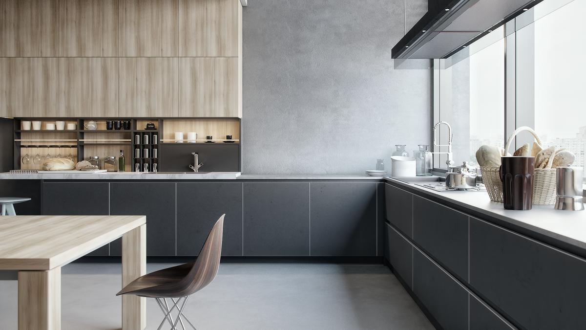 kitchen 3d visualization poliform on behance. Black Bedroom Furniture Sets. Home Design Ideas