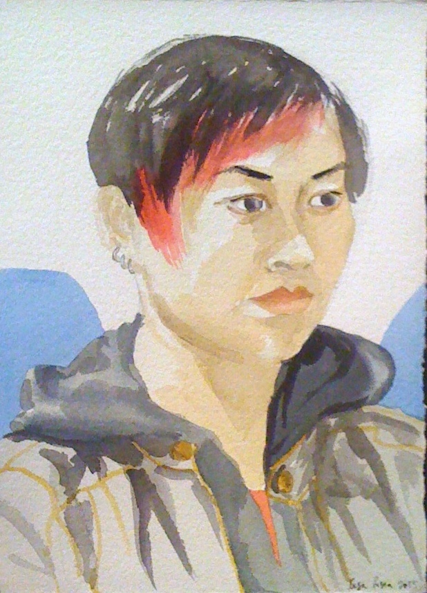 Portrait of Stephanie in watercolor, 2014
