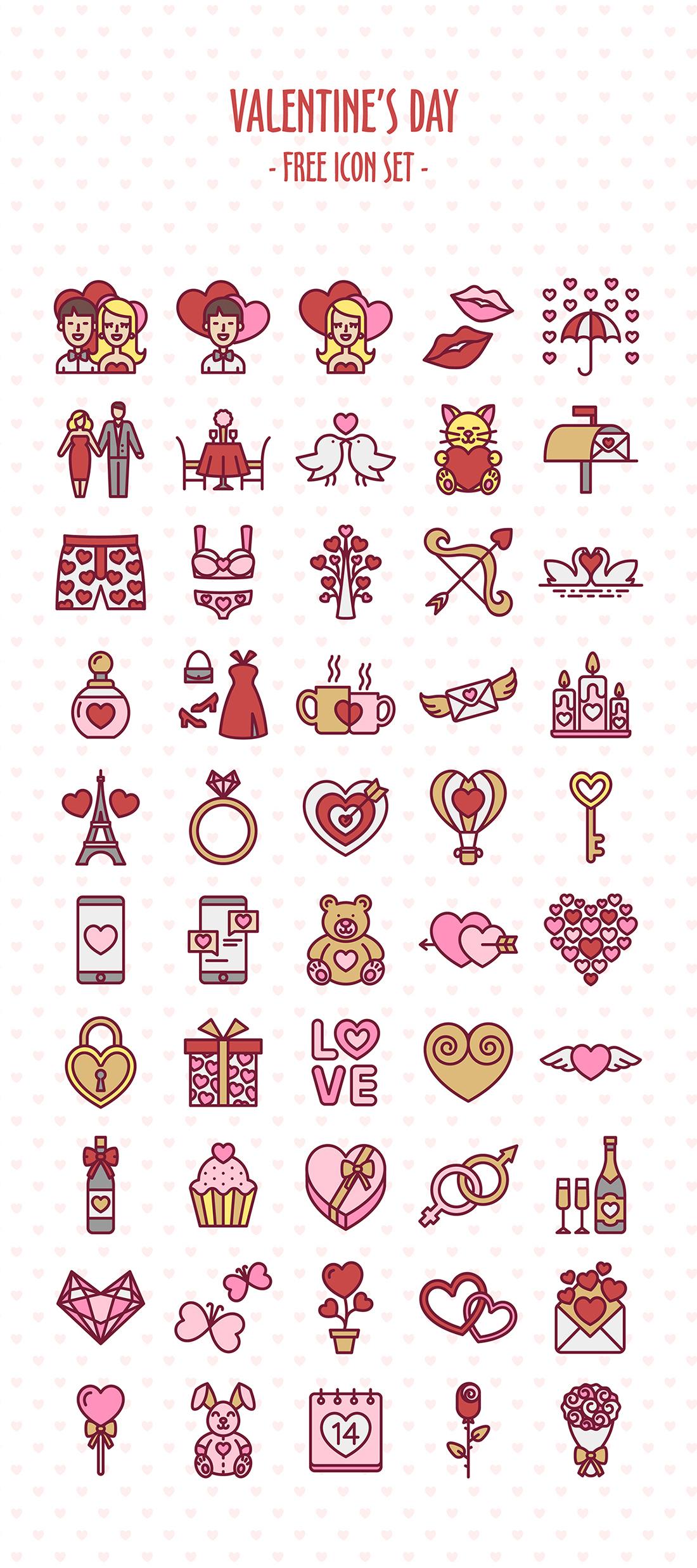 Adobe Portfolio Icon icons line icon flat flat icon free download freebie Love valentine valentines day icon set pink red cute