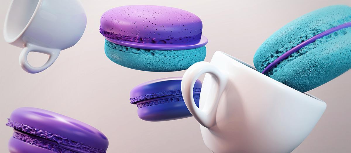 3D Render mental ray macaroon French rendering 3dmax cakes bakery yelena yefimova