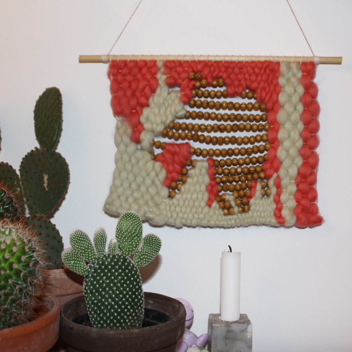 Wallhangings weaving textile art copenhagen beads thread