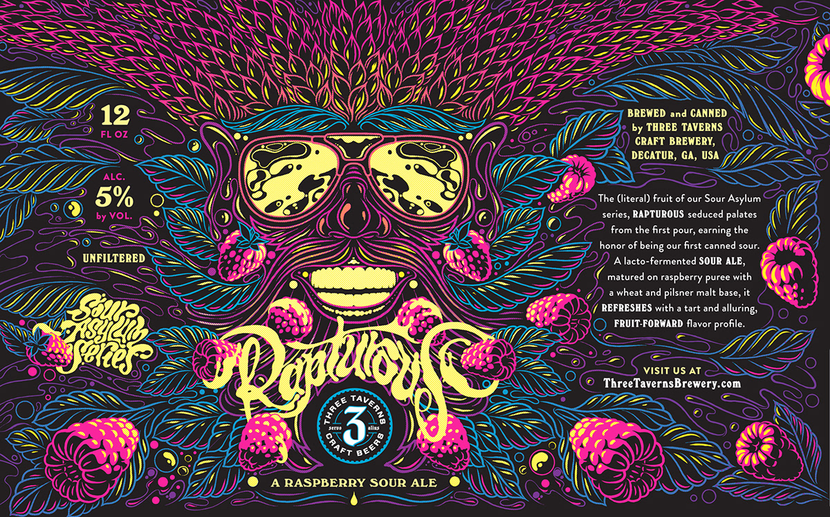 ILLUSTRATION  Character Packaging ale beer Fruit can typography   lettering type