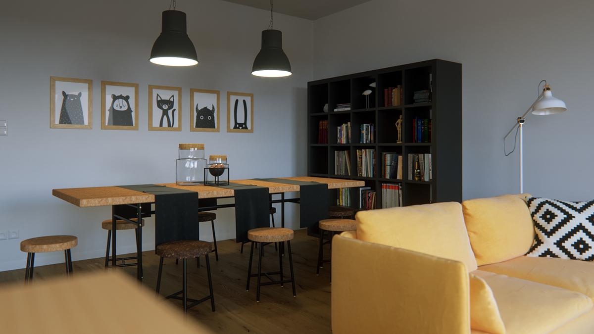 ikea sofa Soderhamn corona renderer panorama kitchen