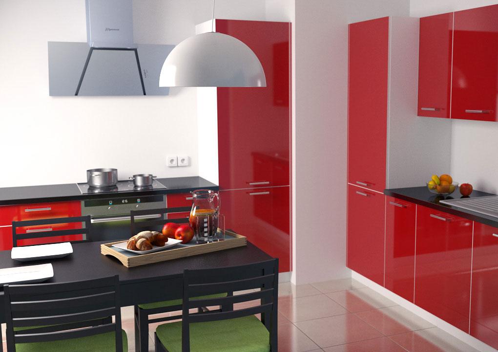 Interior visualization 3D blender b3d cycles slazinski nextplanet kitchen red Render