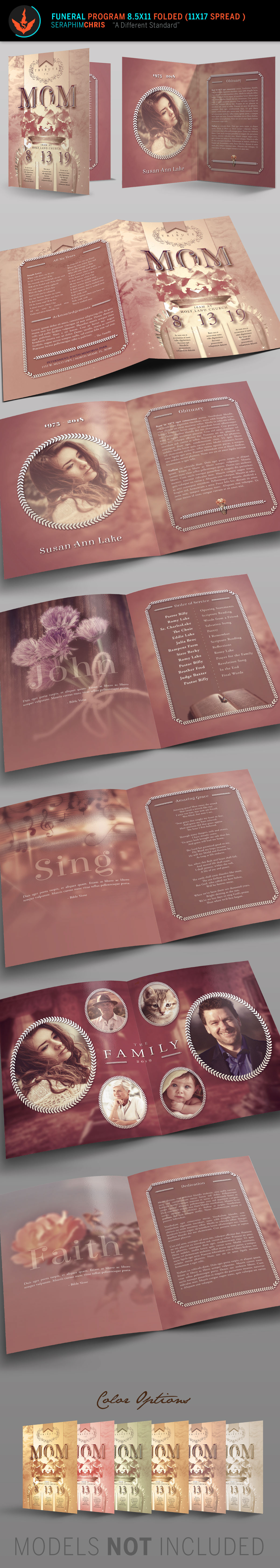 tribute to mom funeral program booklet template on behance