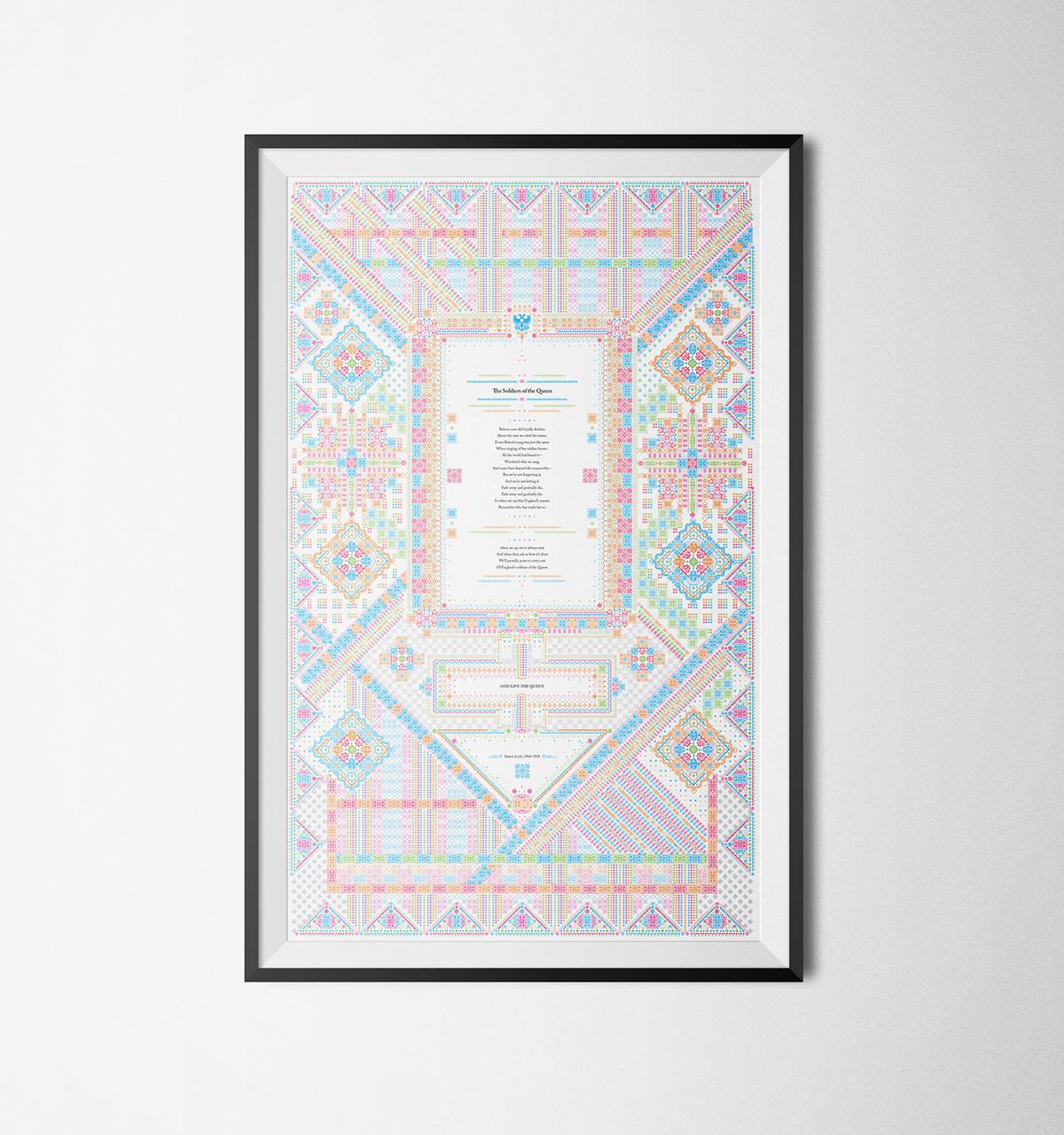 ornament composition elements combination graphic poster Caslon glyphs grid pattern