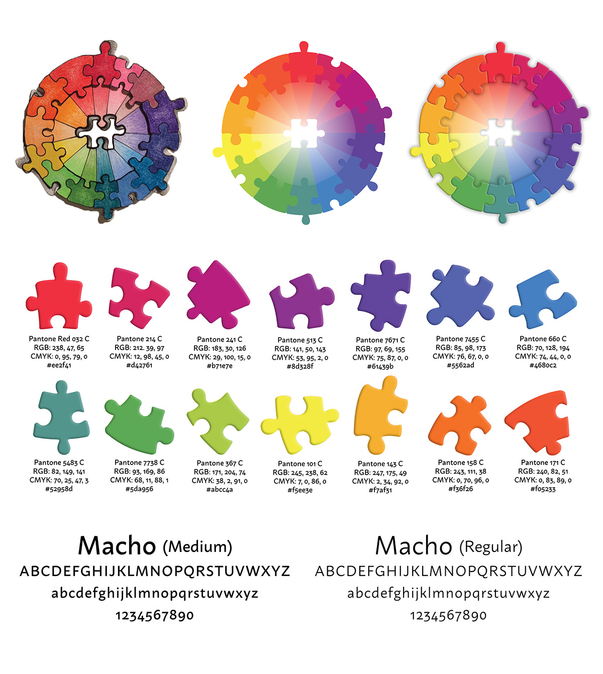 Logo Design branding  color wheel puzzle piece awarness disabilities Inclusive color art school