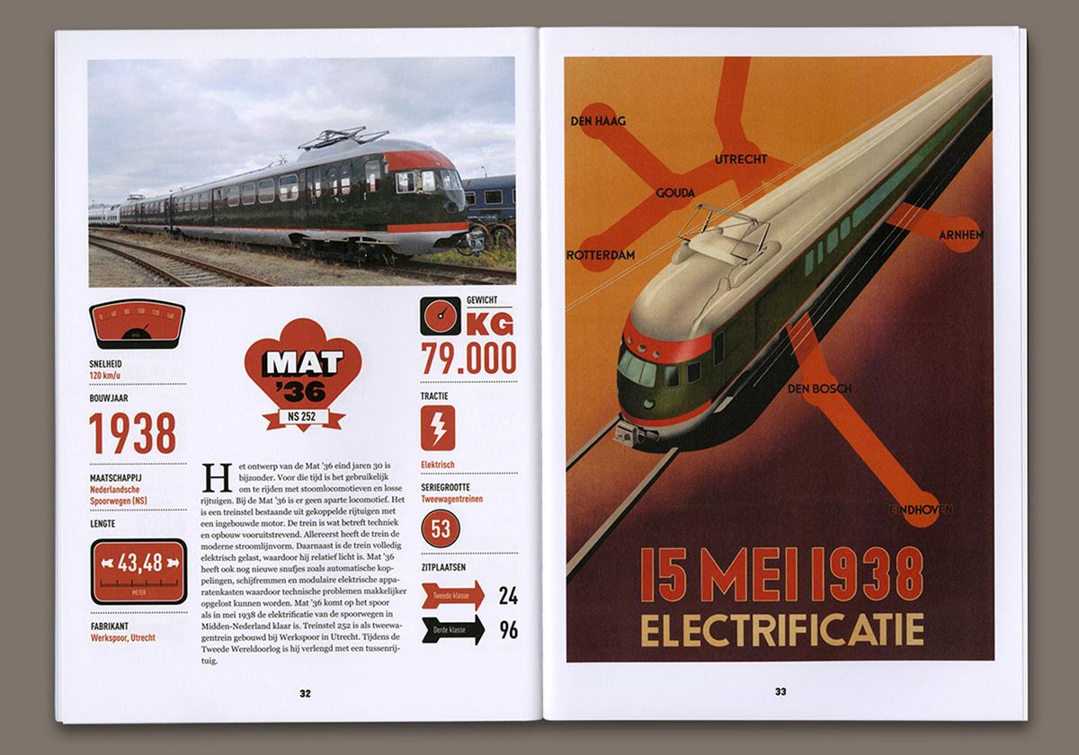 editorial design  book railway train museum graphic design  dutch trains