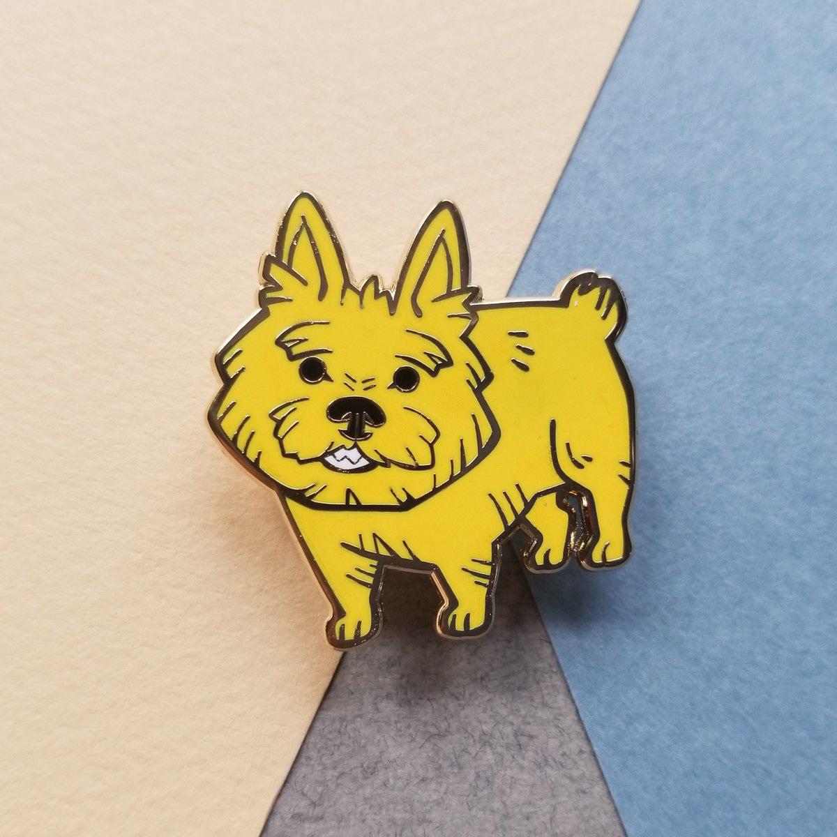 Enamel Pin dog bee COELACANTH norwich terrier