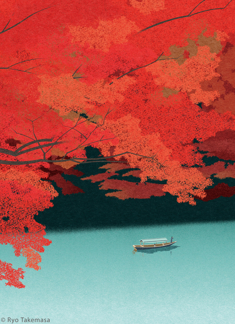 autumn boat Fall japan japanese maple lake Landscape maple red leaves river