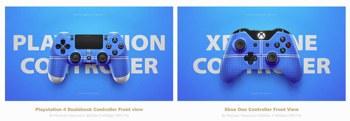 playstation 4  u0026 xbox one controller psd mockup template on