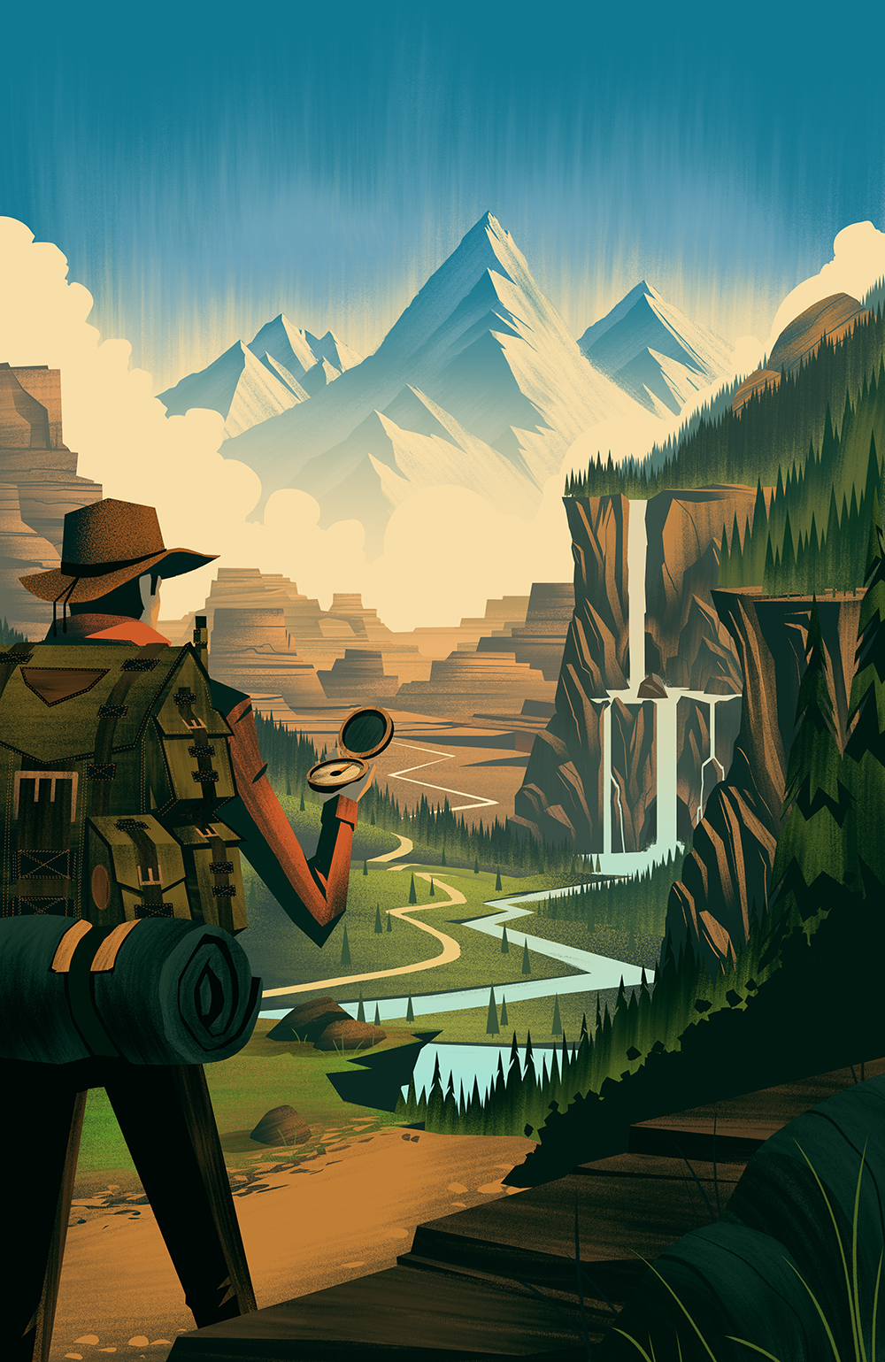 outdoors mountains hiking Hiker camping Waterfalls Forests ocs Orlin Culture Shop vintage Retro