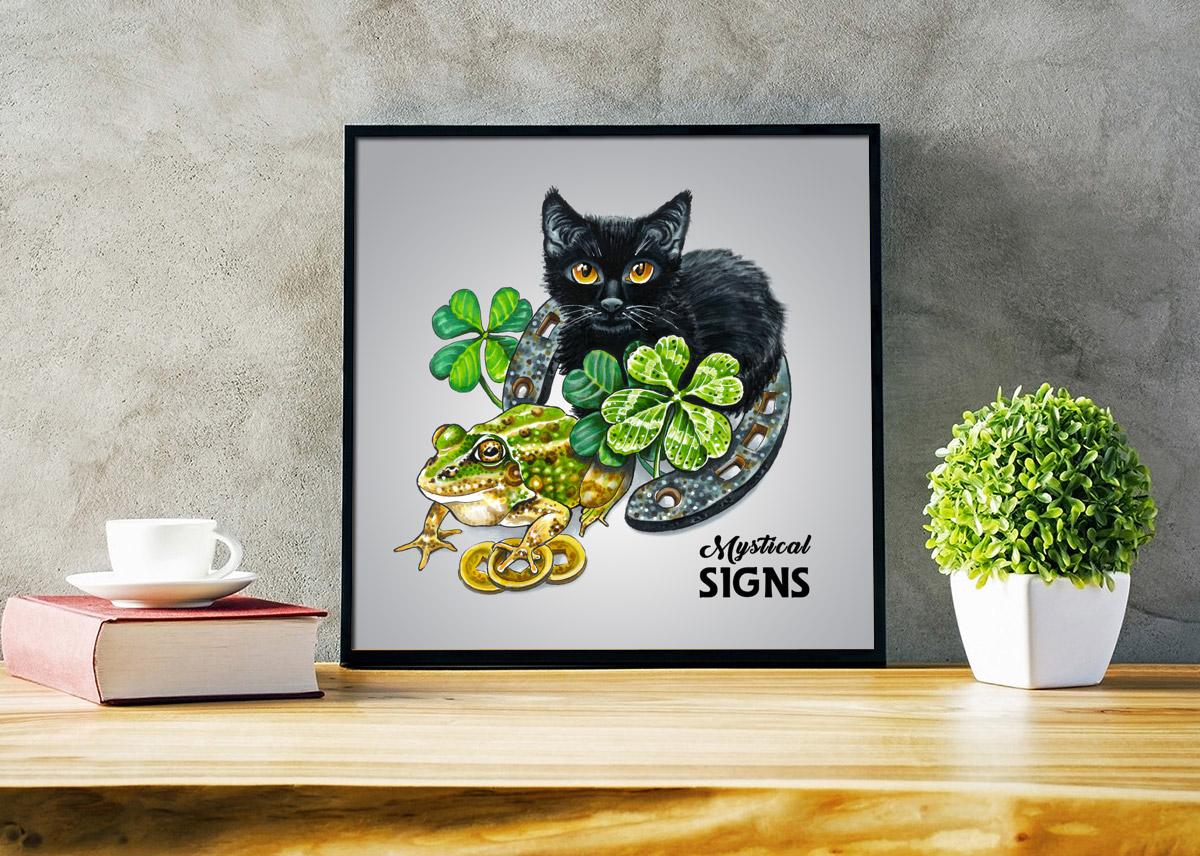 hand drawn hand drawn illustration ILLUSTRATION  marker illustration Black Cat Mystic mystical copic markers frog