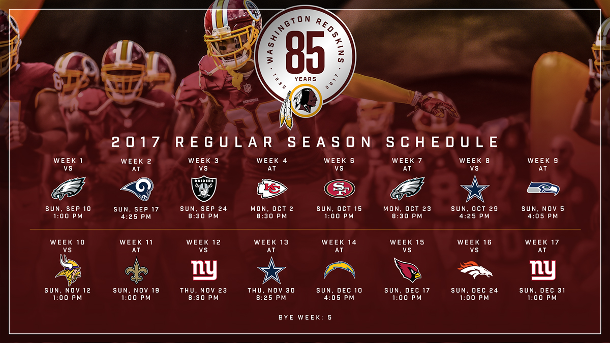 photo relating to Redskins Printable Schedule identified as 2017 Redskins Timetable Launch upon Behance