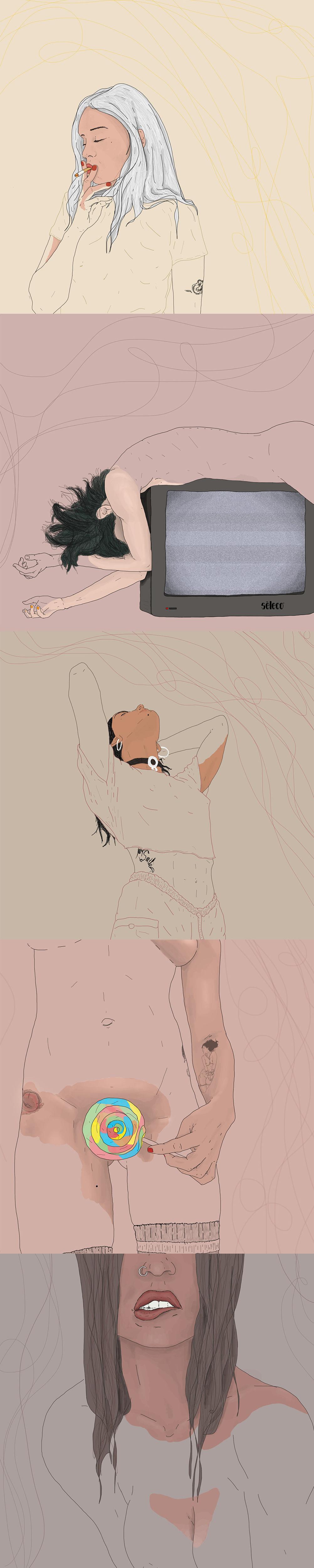 ILLUSTRATION  Drawing  woman feeling art