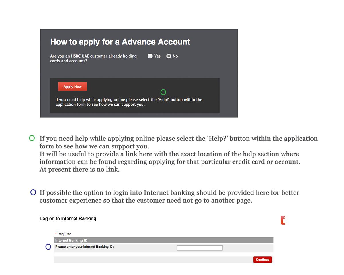 HSBC UAE application user journey analysis on Behance
