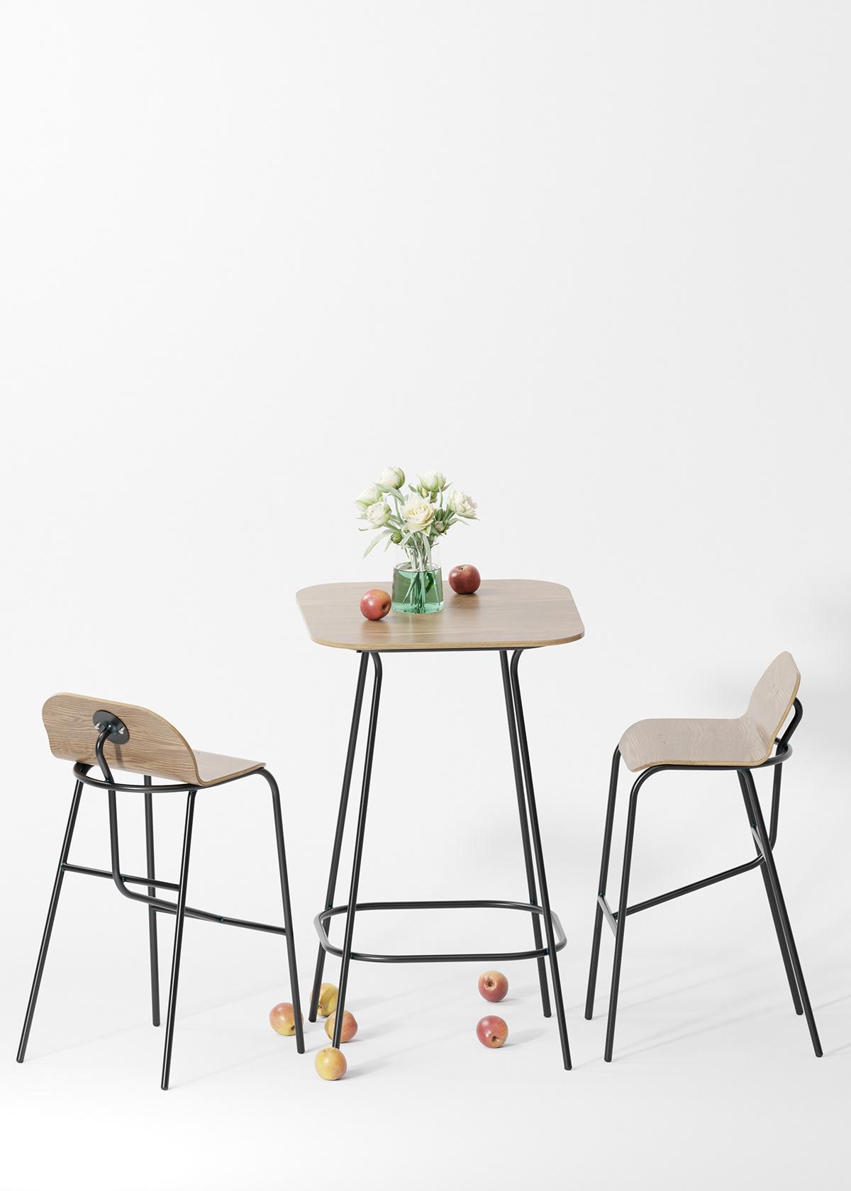 bar bistro cafe furniture HORECA Interior Solidworks stool table plywood
