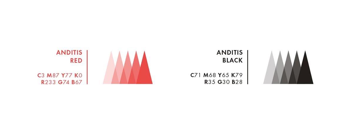 Anditis agency creative logo design brand identity minimal elegant red coral red Web modern simple clean