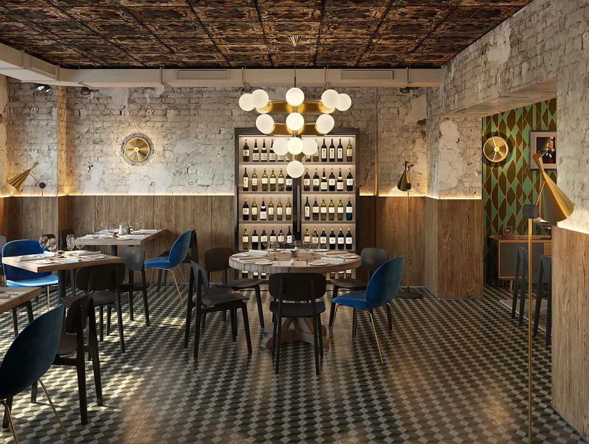 berlin, mine restaurant, interior viz on Behance