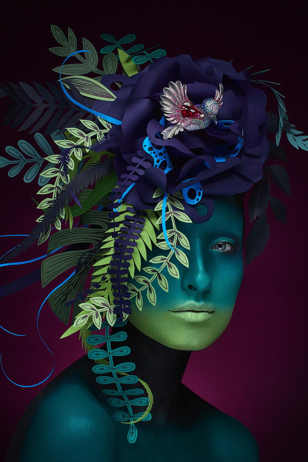 portrait make-up art artwork Jewellery Gems paper art body paint Mousson Atelier