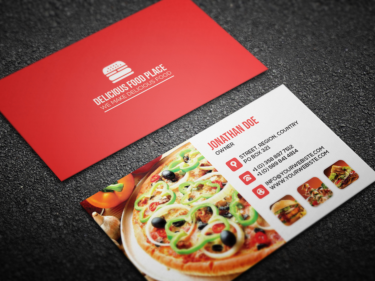 Free delicious food business card on behance here is free delicious food business card template well suitable for food truck pop up restaurant fast food fast casual buffet cafe family style wajeb