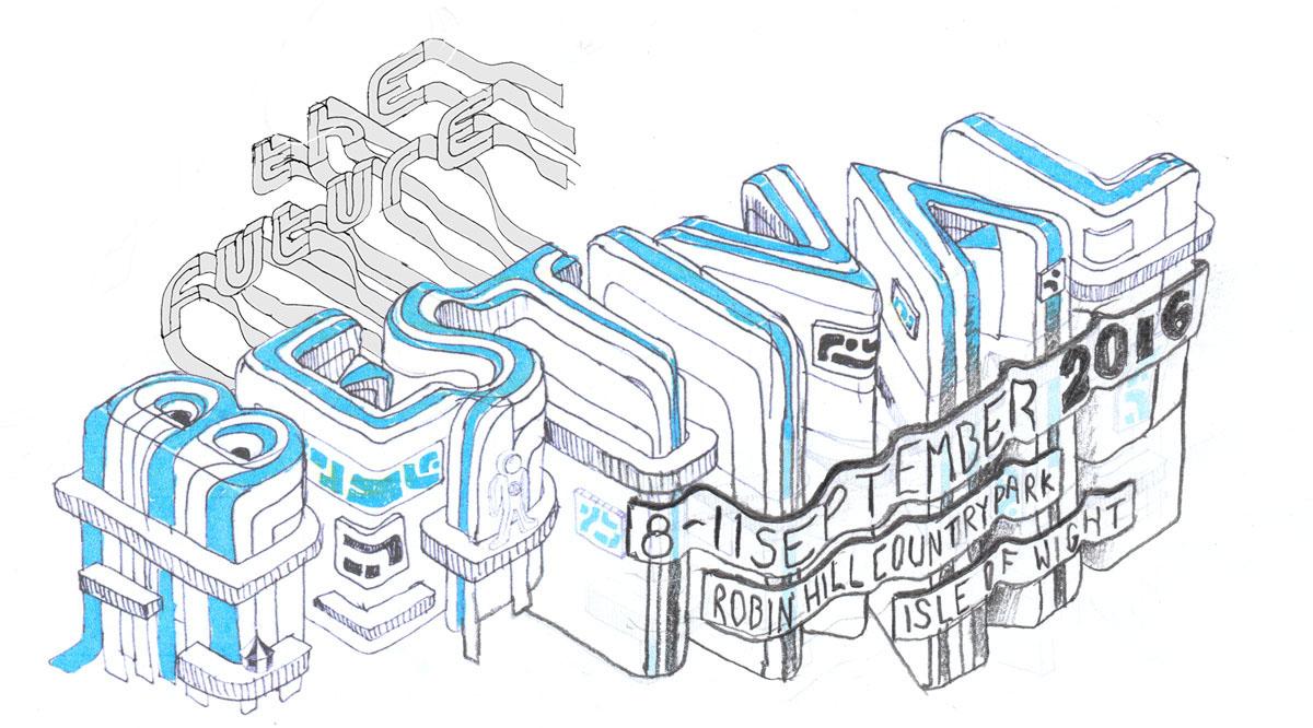 festival summer branding  ILLUSTRATION  madeup 3DType Isometric future typography