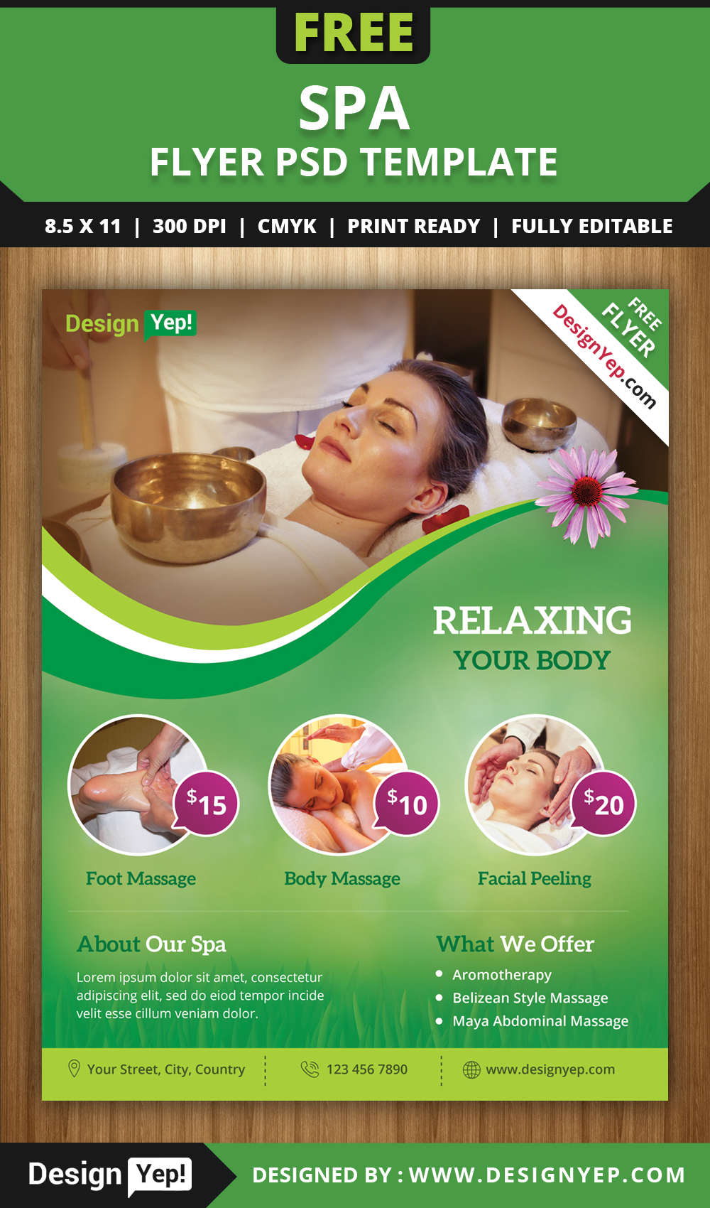 Free spa flyer psd template for download on behance for Salon brochure templates free