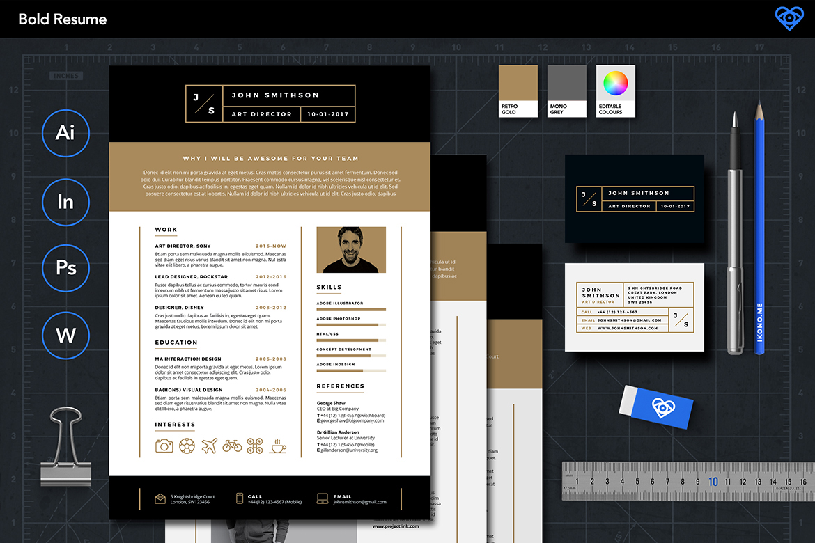 bold resume template on behance
