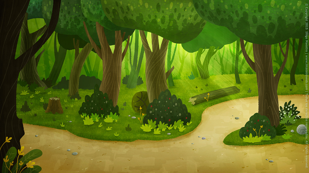 background house woods forest trunks trees school Chalkboard Red Ridding Hood tale swing Tree  grass path set