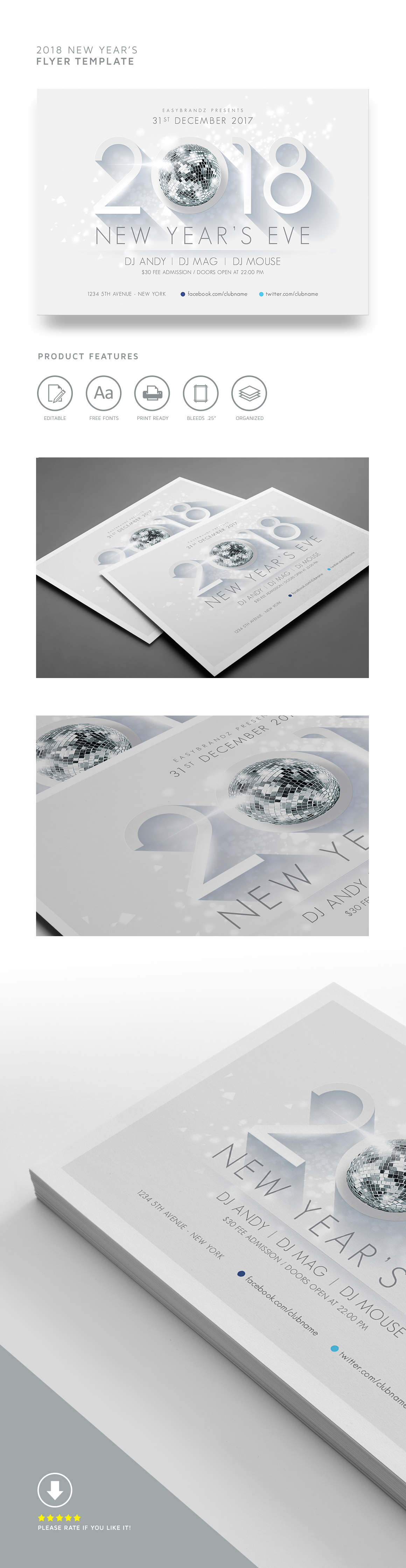 2018 new years flyer template on behance