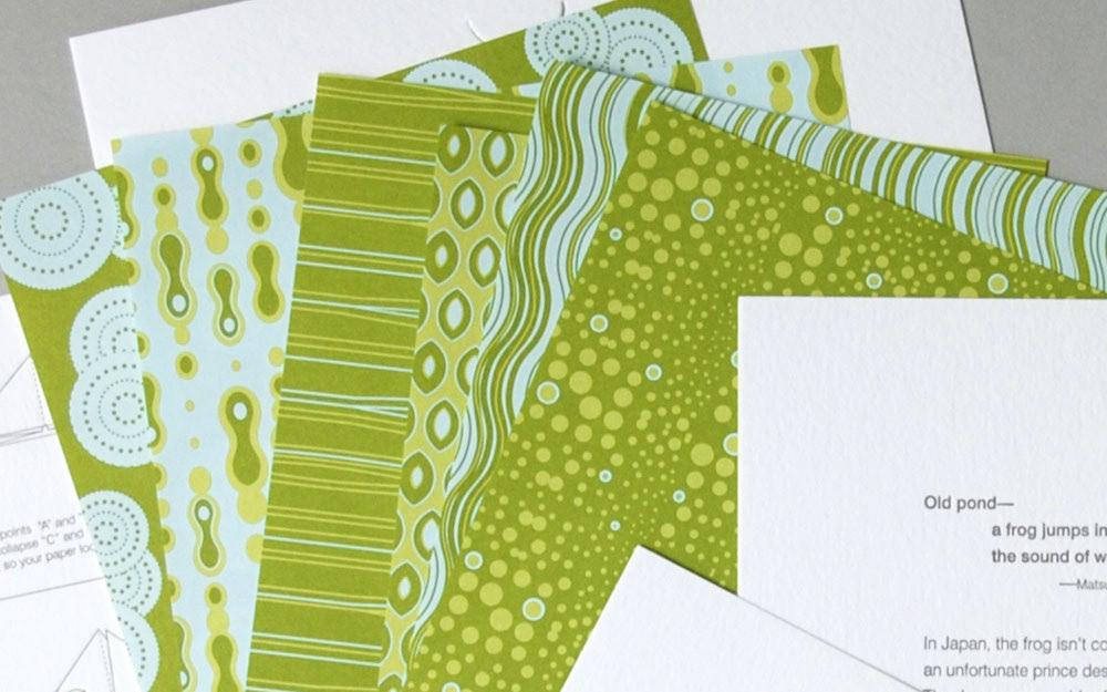 holiday card letterpress print pattern illustrations origami