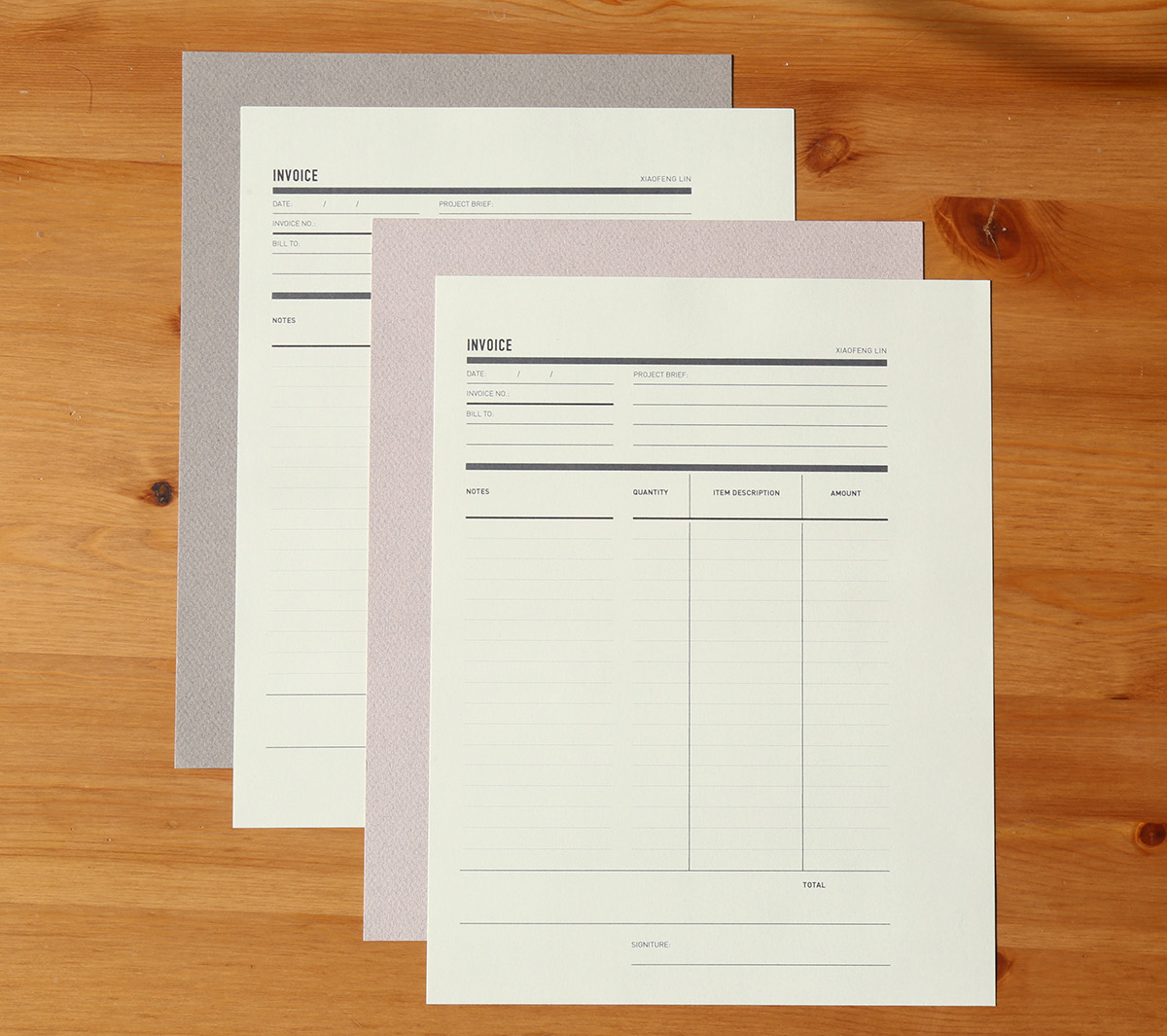 Self Promotion identity xiaofeng Lin business card Resume CV notebook font reference