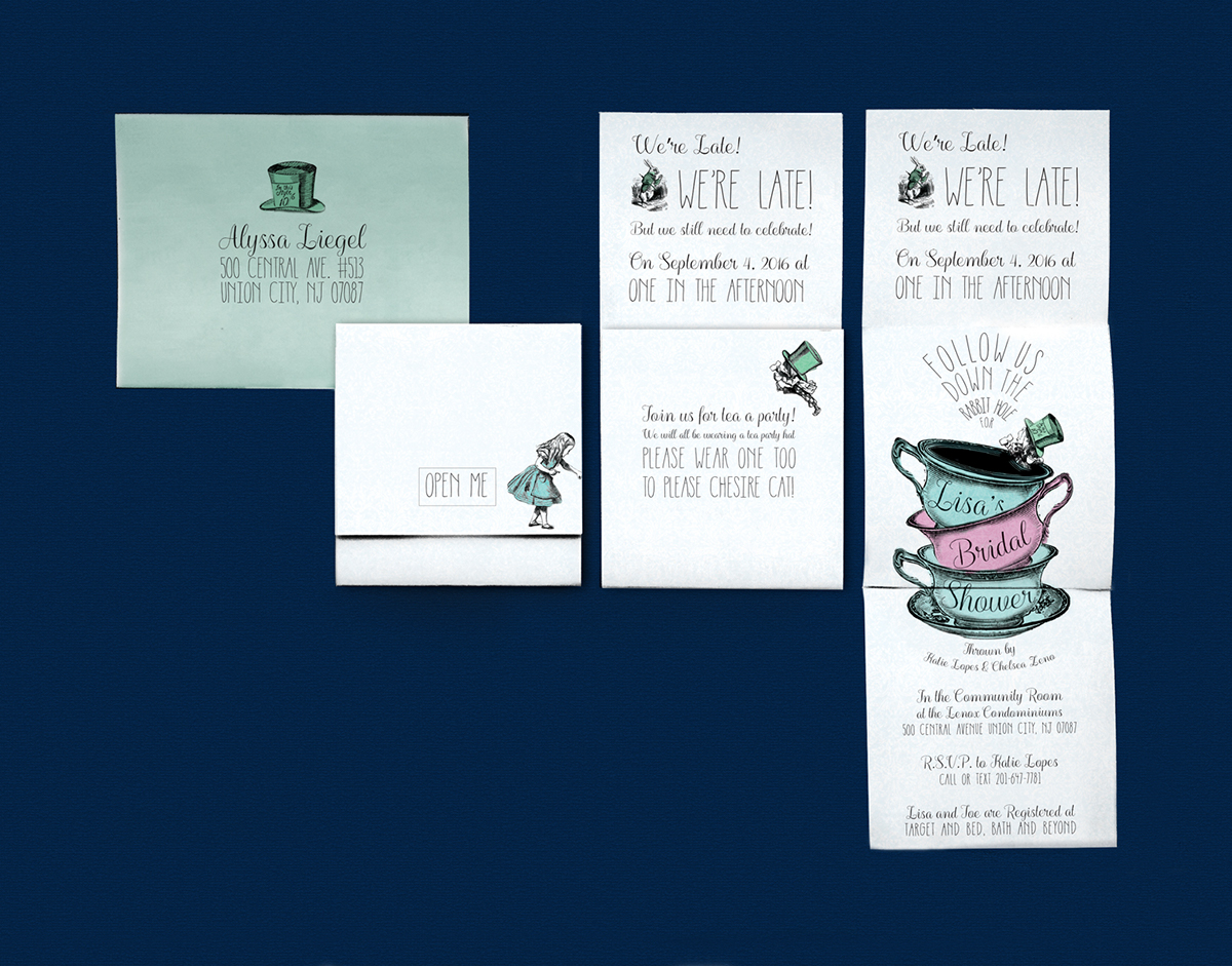 Mad hatter bridal shower invitation on philau portfolios bridal shower invitation inspired by the tea party from alices adventures in wonderland the invitation unfolds to become bigger mirroring what happens to stopboris Gallery