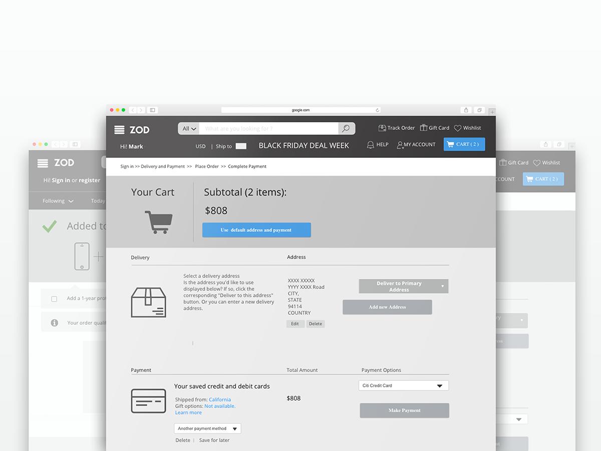 Ecommerce Web Design  wireframe