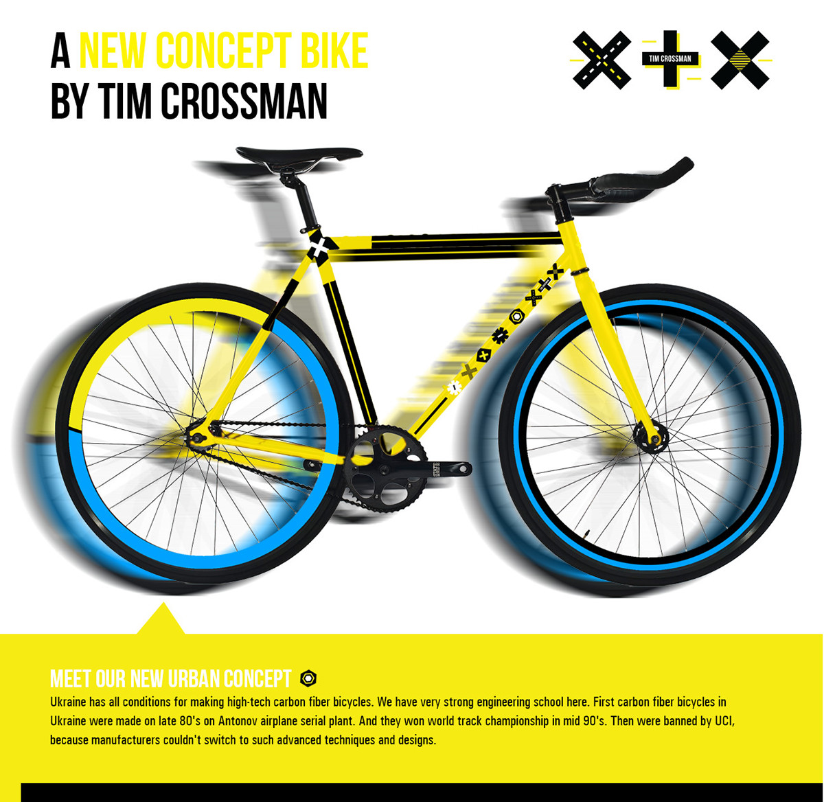 Bicycle brand identity poster banner site catalog wear pattern yellow