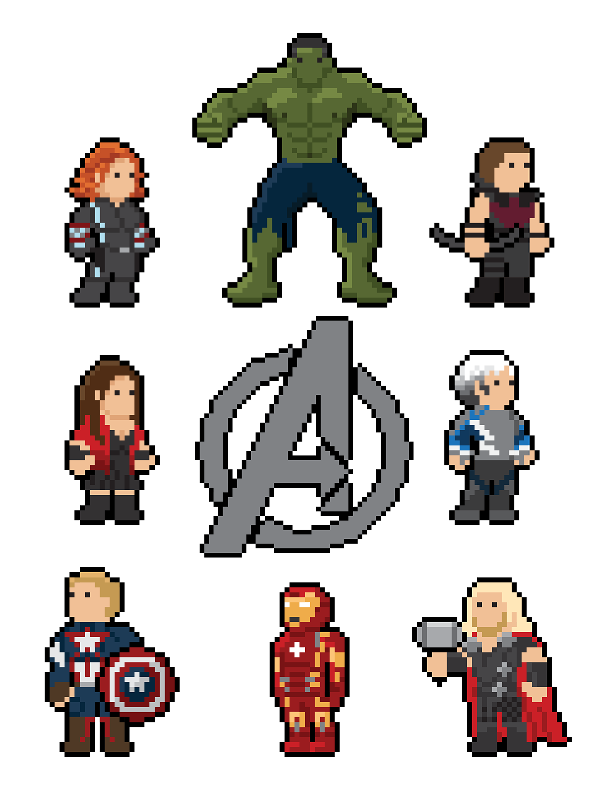 Character Design Jobs Nyc : The avengers pixel art on behance