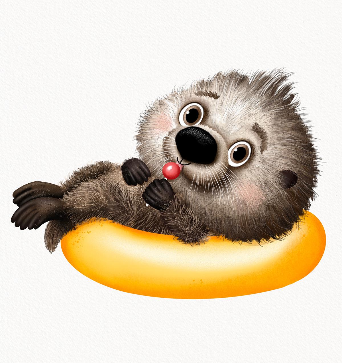 animals illustration Character children ChildrenIllustration cute Nature Ocean sea seaotter
